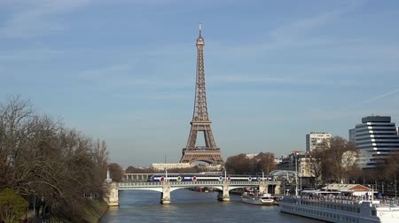 french metro : Train traffic (RER) on Railway bridge (Pont Rouelle) with Eiffel tower in background - Paris, France Stock Footage
