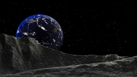 View of Earth from Lunar Surface at night. 20 seconds animation.