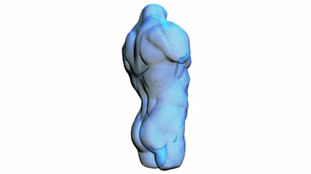Wireframe scan over male anatomy. Transparent Human Body, 3D render Стоковые видеозаписи
