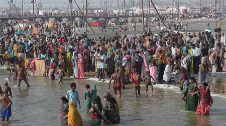 ALLAHABAD,INDIA-CIRCA,FEBRUARY 2013:Hindu devotees came to confluence of the Ganges