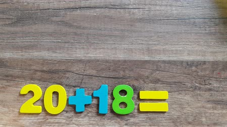 numerology : Mathematical operations with the number 2018 with a question mark. The concept for the new year. Stock Footage
