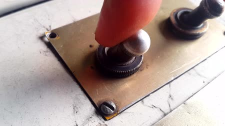 switching : Turn On The Toggle Switch Stock Footage