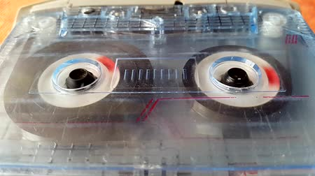taŚma filmowa : Old tape Audio Recorder reels spinning
