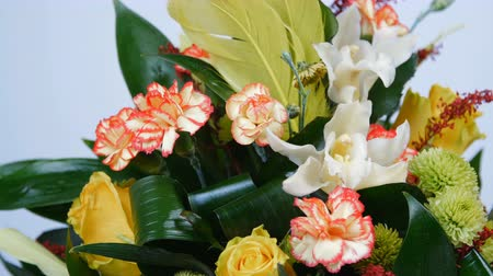 roomy : close-up. Flowers, bouquet, rotation on white background, floral composition consists of Rose penny lane, Carnation, Cymbidium orchid, solidago, Chrysanthemum santini, Russus, aspidistra