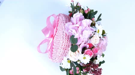alstroemeria : view from above, Flowers, bouquet, rotation on white background, floral composition consists of hydrangea, Chrysanthemum, Rose lydia, Rose pion-shaped, eucalyptus