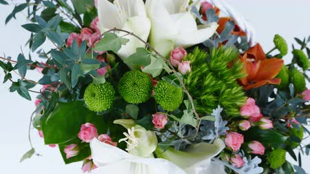 grat : view from above, Flowers in rotation, composition consists of Amaryllis white, Rose lydia, Santini , cineraria, eucalyptus, Ivy roomy, Barbatus, feverweed, Cymbidium orchid,