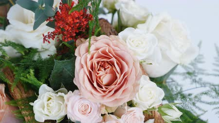 roomy : view from above, close-up, Flowers, bouquet, rotation, consists of Rose cappuccino, Snowflake rose, Rose yana creamy, Plamosus, eucalyptus, solidago, Rose of avalanche.