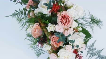 yana : view from above, close-up, Flowers, bouquet, rotation, consists of Rose cappuccino, Snowflake rose, Rose yana creamy, Plamosus, eucalyptus, solidago, Rose of avalanche