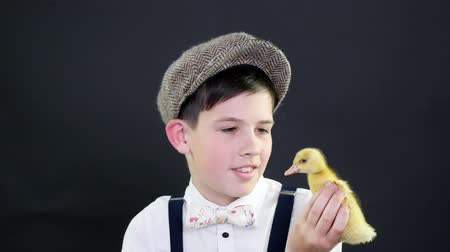 orphans : Portrait, a pretty boy in a cap and suspenders plays with a small yellow duckling. Studio video with thematic decoration