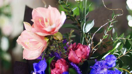 roomy : Flower bouquet in the rays of light, rotation, composition consists of Eustoma, eucalyptus, Amaryllis pink, Orchid vanda, Tulip piano, solidago. in the background a lot of greenery