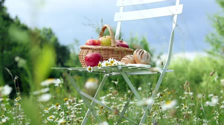 pausa : In the middle of a chamomile lawn, near a forest, against a blue sky, stands a white chair, on it a composition of a basket with red apples and bread, and a bouquet of daisies stands. Vídeos
