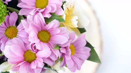 barbatus : close-up, view from above, Flowers, bouquet, rotation, floral composition consists of Chrysanthemum Chamomile. Flower shop