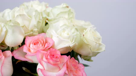 barbatus : close-up, Flowers, bouquet, rotation on white background, floral composition consists of white and pink Roses . Rose dzhemilja, Rose of avalanche .Divine beauty