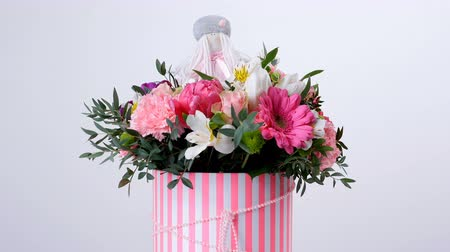 yana : Flowers, bouquet, rotation on white background, floral composition consists of gerbera, Tulip piano, Santini , Alstroemeria, Rose odily, Orchid vanda, eucalyptus