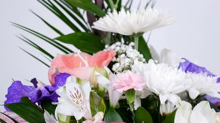 roomy : close-up, Flowers, bouquet, rotation on white background, floral composition consists of Leucadendron, Chrysanthemum anastasis, Amaryllis pink, Orchid vanda, Alstroemeria,