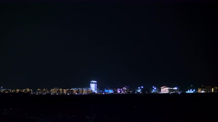 observation deck : DUBAI, UNITED ARAB EMIRATES, UAE - NOVEMBER 20, 2017: at night, far away, you can see the lights of the city, skyscrapers,