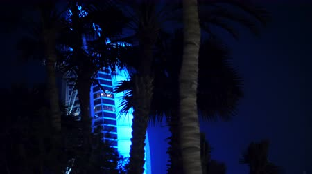 hotel suite : DUBAI, UNITED ARAB EMIRATES, UAE - NOVEMBER 20, 2017: Hotel Jumeirah. night walk by taxi-bugs, passing by near glowing Burj al Arab, hotel-sail, flickering palm trees Stock Footage