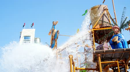 waterslide : DUBAI, UNITED ARAB EMIRATES, UAE - NOVEMBER 20, 2017: Hotel JUMEIRAH BEACH HOTEL near Burj al Arab. water park Wild Wadi, on the territory of the hotel complex