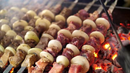 kabab : shish kebab from pork, on skewers, fried on coals. close up. Grill on charcoal and flame, picnic, street food