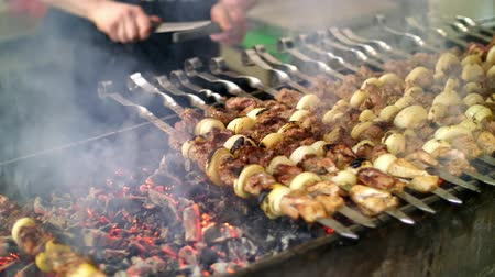 kabab : Grilled kebab cooking on metal skewer close up. Roasted meat cooked at barbecue. Grill on charcoal and flame, picnic, street food