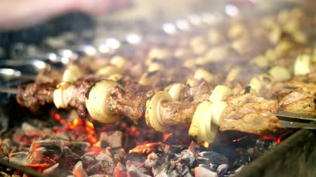 kabab : Shish kebab roasting on the grill. BBQ party. Close-up. Stock Footage
