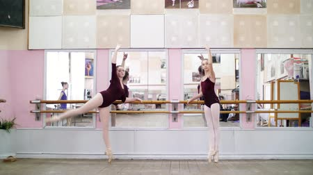колготки : in dancing hall, Young ballerinas in purple leotards perform grand battement back on pointe shoes, raise their legs up elegantly, standing near barre at mirror in ballet class.
