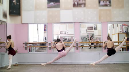 колготки : in dancing hall, Young ballerinas in black leotards stretching at barre, on pointe shoes, elegantly, standing near barre at mirror in ballet class.