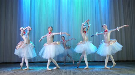 obter : ballet rehearsal, on the stage of the old theater hall. Young ballerinas in elegant dresses and pointe shoes, dance elegantly certain ballet motions, pass, scenic bow