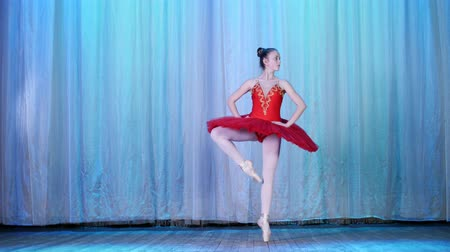 колготки : ballet rehearsal, on the stage of the old theater hall. Young ballerina in red ballet tutu and pointe shoes, dances elegantly certain ballet motion, sissone simple