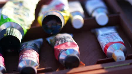 oilpaint : in a special bag, a suitcase, a lot of different tubes with oil and acrylic paints of different colors lie. close-up