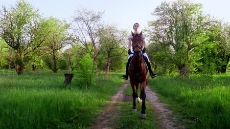 yele : spring, outdoors, girl rider, jockey riding on thoroughbred beautiful brown stallion, through old blossoming apple orchard. horse running in blooming garden. stedicam shot Stok Video