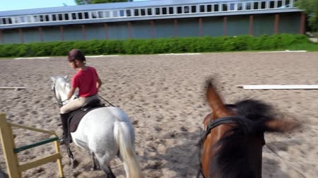 пони : summer, outdoors, boy rider, jockey riding on thoroughbred beautiful white stallion, horse, on the training sand field, ground. boy learns to ride a horse in horse riding school.