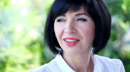 čtyřicet : Portrait of pleasant smiling, Happy beautiful real 40 years old woman.