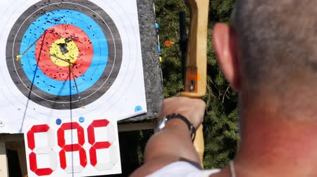 dardo : An outdoor target for shooting with a bow and arrows, for archery arrows on a summer day , in the Park. Archery target , Hit the goal. target board and arrow shoot. Vídeos