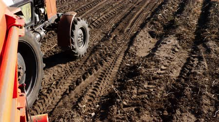 sowing : close-up. tractor wheels in motion. a tractor rides across the black field. The imprints of the tractor wheels on the ground . annual potato harvest,
