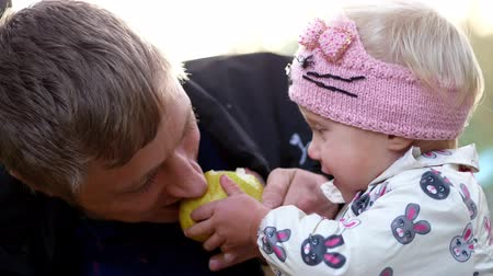apple park : CHERKASY, UKRAINE, OCTOBER 17, 2018: portrait, dad and little daughter. Girl eats a big yellow, sweet pear with big appetite, treats dad. picnic in autumn park. warm autumn day.