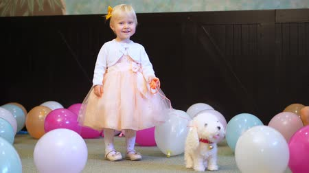 pelyhes : CHERKASY, UKRAINE, OCTOBER 17, 2018: in a large game room, with lots of colorful balloons on the floor. little, blond girl of 2 years old, in a beautiful dress, playing with a toy dog,