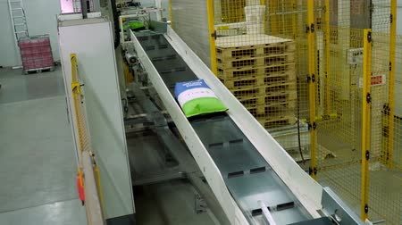 işlemek : UKRAINE, CHERKASY, MARCH 25, 2019: agricultural company MAIS. transport tape of packaging production at the factory. paper bags with grain crops, such as corn, moves along the automatic tape . Production line, conveyor roller, Factory Transport Belt Conve