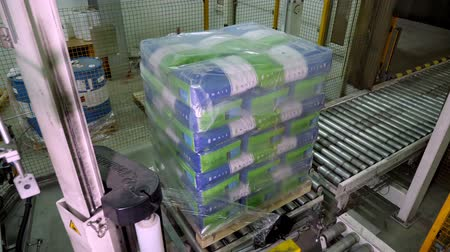 maquinaria : UKRAINE, CHERKASSY, MARCH 25, 2019: agricultural company MAIS. automated packaging process, wrapping corn grain bags on pallets with film , for further loading and transportation Vídeos