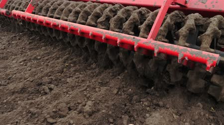 подсолнухи : close-up, tractor cultivator cultivates, digs the soil. tractor plows the field. automated tiller for digging soil in farm into freshly plowed land. spring