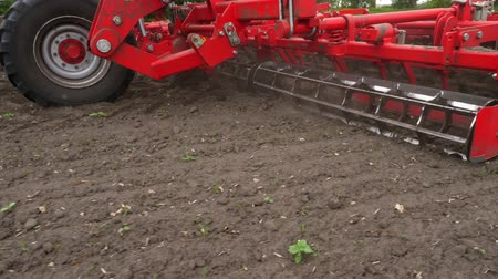 plough land : close-up, tractor cultivator cultivates, digs the soil. tractor plows the field. automated tiller for digging soil in farm into freshly plowed land. spring