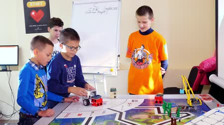 CHERKASY, UKRAINE, OCTOBER 19, 2019: educational lesson at school of Robotics, with machines created from a designer. STEM education