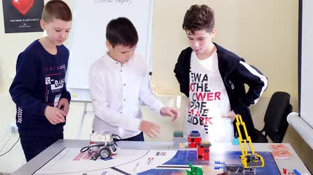 educational lesson at school of Robotics, with machines created from a designer. STEM education