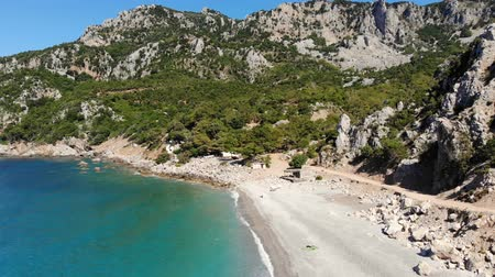 zante : aero. view from above. beautiful summer seascape. Rocky beaches of Evia island, Greece.