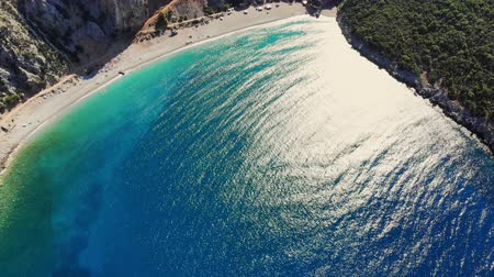 zante : aero. top view. beautiful summer seascape. Rocky beaches of Evia island, Greece. sea bay with turquoise, blue water at the foot of the cliffs, among the mountains