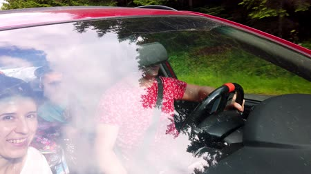 para : view from the outside, through the windshield of a car passengers are visible. man driving. the tops of the trees are reflected on the windshield. car is in motion. Stock Footage