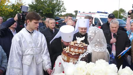 CHERKASY REGION, UKRAINE, OCTOBER 10, 2019: A meeting of His Beatitude Metropolitan Epiphany with loaf. Preparation for consecration of newly built Church of the Blessed Virgin Assumption