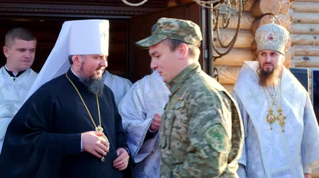 CHERKASY REGION, UKRAINE, OCTOBER 10, 2019: Blessed Metropolitan Epiphanius presents awards to military servicemen