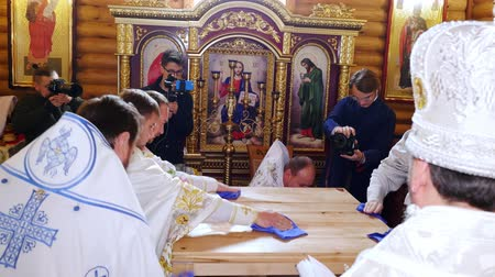 CHERKASY REGION, UKRAINE, OCTOBER 10, 2019: church ceremony. the consecration rite of newly built Church by Metropolitan Epiphany, head of united local Ukrainian Orthodox Church