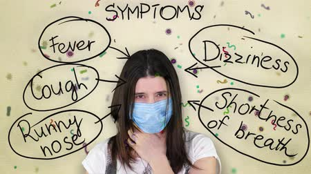 fájó : cold and flu symptoms. coronovirus symptoms. a sick girl in a blue medical bandage coughs, shows a headache, poor health. various bacteria, viruses fly in background. Stock mozgókép